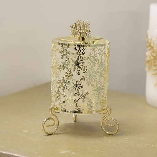 Ornate Golden Snow Flake Design Rotary tealight Christmas Candle Holder